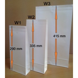 Musterbeutel W3 aus weissem Kraftpapier 240 x 415 x 50 mm