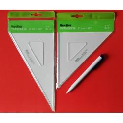 2x TZ-Geometrie-Dreiecke mit Tuschkante 30-45-60-90° NESTLER