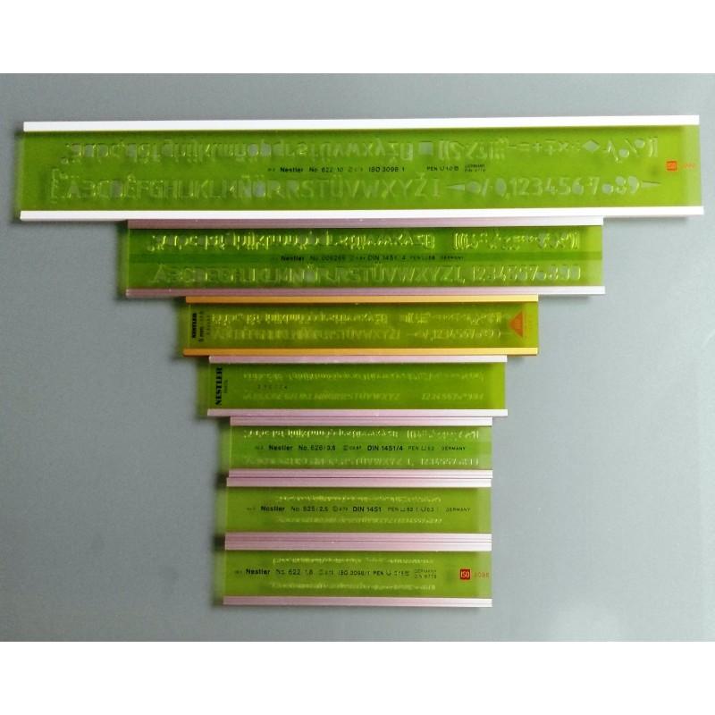 7x- Alurahmen Schriftschablonen Set nach ISO 3098 1,8 bis 10 mm