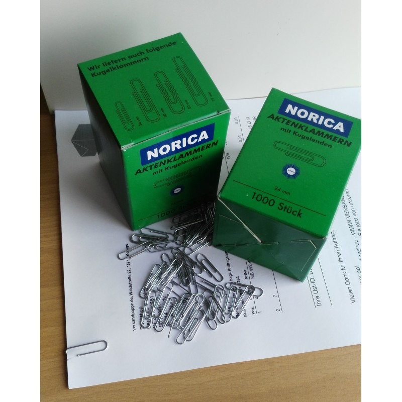 NORICA Büroklammern mit Kugelenden - 24 mm glatt, verzinkt. Aktenklammern