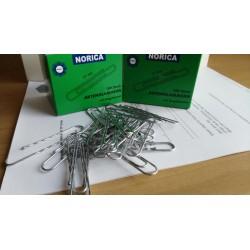 NORICA Büroklammern mit Kugelenden - 77 mm gewellt, verzinkt. Aktenklammern 100 St.